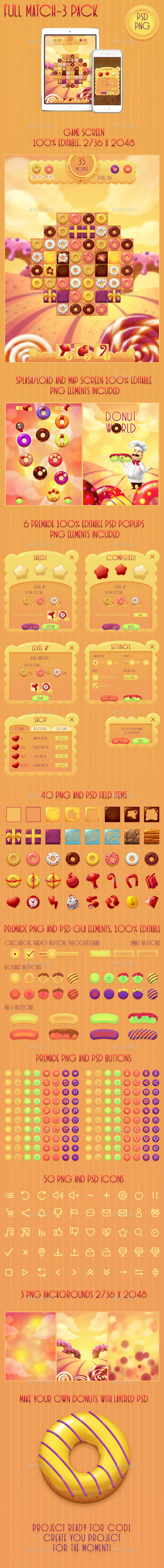Donut Match 3 GUI Pack - Game Kits Game Assets