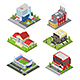 City Building Set Isometric View. Vector - GraphicRiver Item for Sale