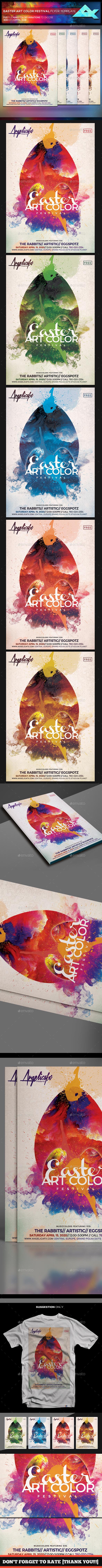 Easter Art Color Festival Flyer Template - Flyers Print Templates