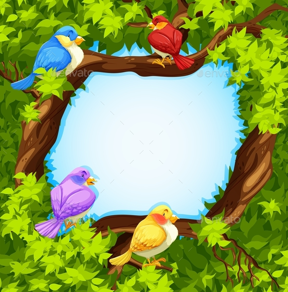 Border Design with Birds on Tree - Animals Characters