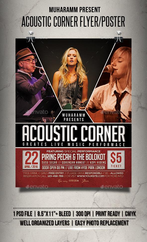 Acoustic Corner Flyer / Poster - Events Flyers