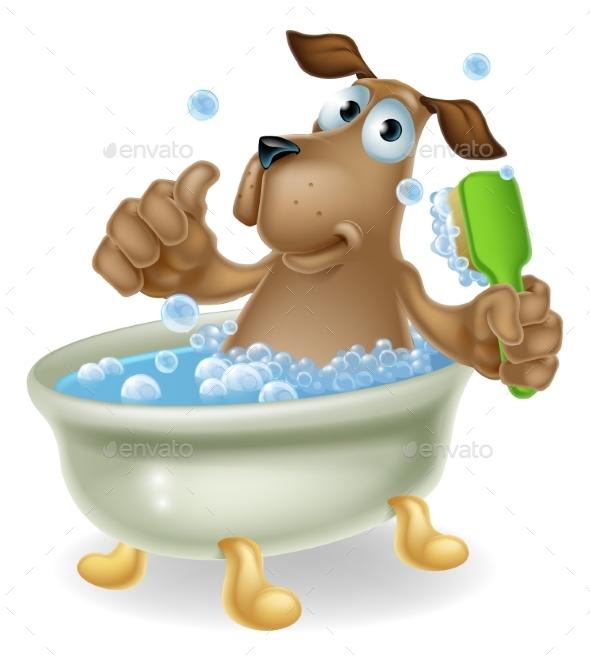 Dog in Bubble Bath Cartoon - Animals Characters