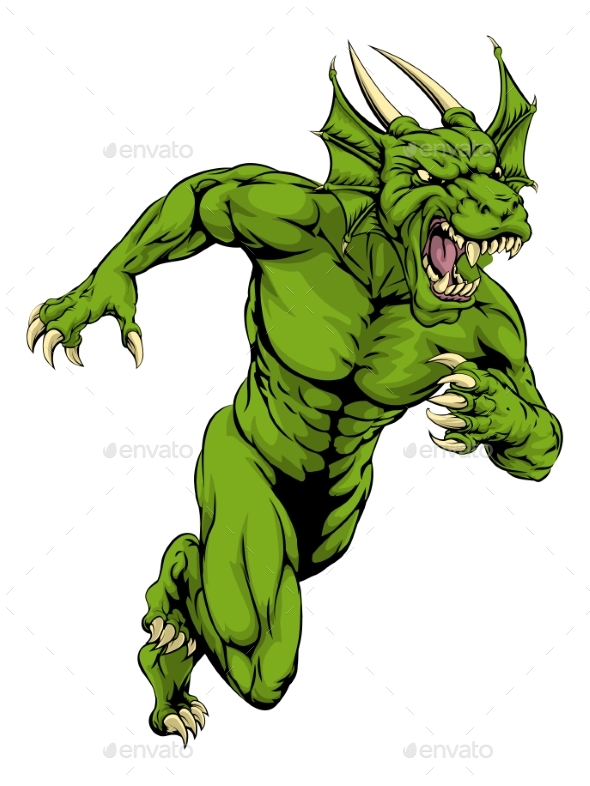 Dragon Mascot Sprinting - Animals Characters