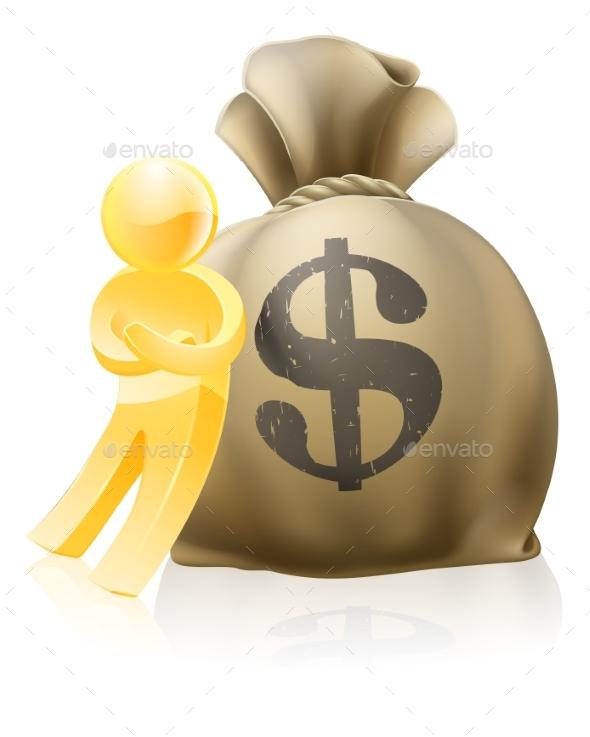 Man Leaning on Money Sack - Miscellaneous Vectors