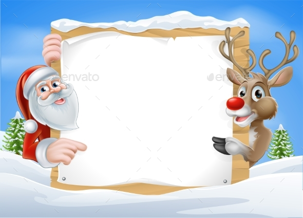 Christmas Reindeer and Santa Sign - Miscellaneous Vectors