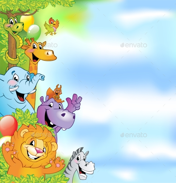 Cartoon Animals Cheerful Background - Animals Characters