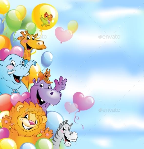 Cartoon Animals, Cheerful Background - Animals Characters