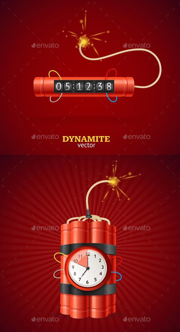 Detonate Dynamite Bomb and Timer Clock. - Conceptual Vectors
