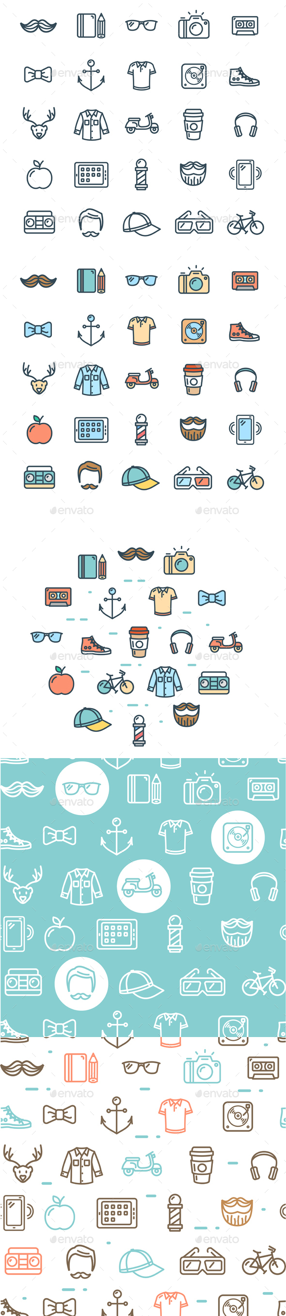 Hipster Thin Line Icon and Pattern Background Set - Miscellaneous Conceptual