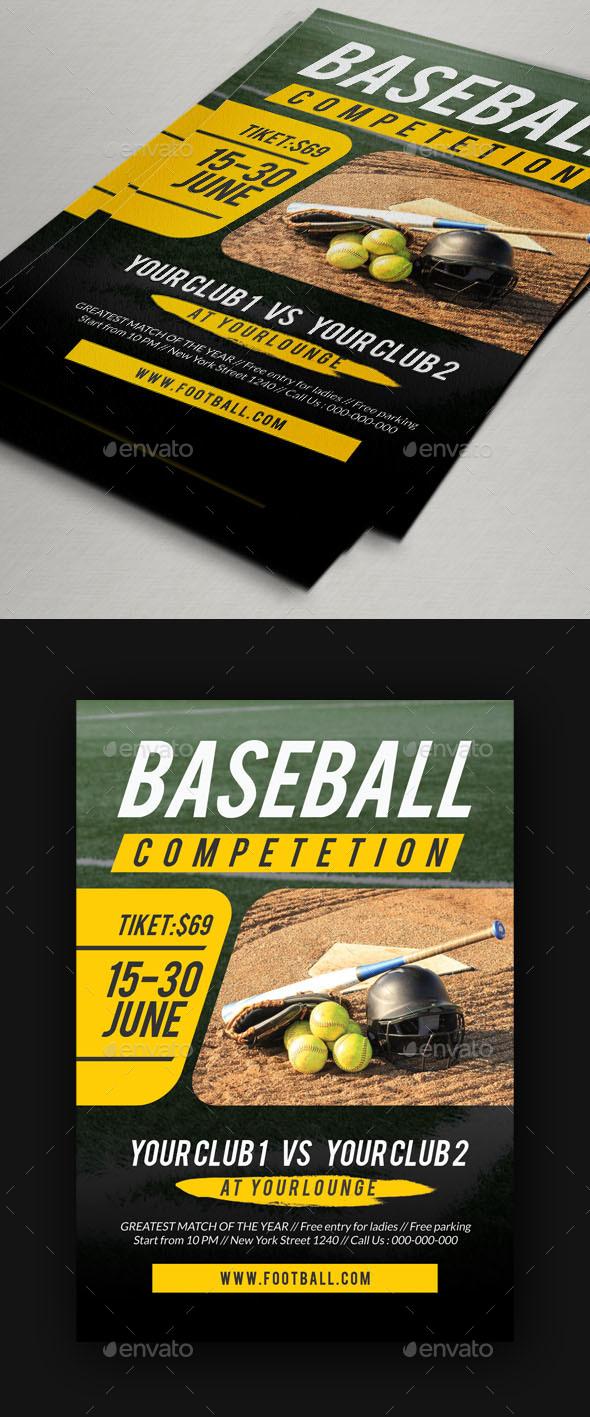 Baseball Match Flyer Template - Sports Events