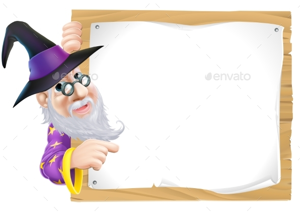 Wizard Pointing at Sign - Miscellaneous Vectors