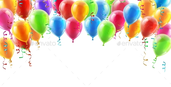 Balloons Header Background - Birthdays Seasons/Holidays