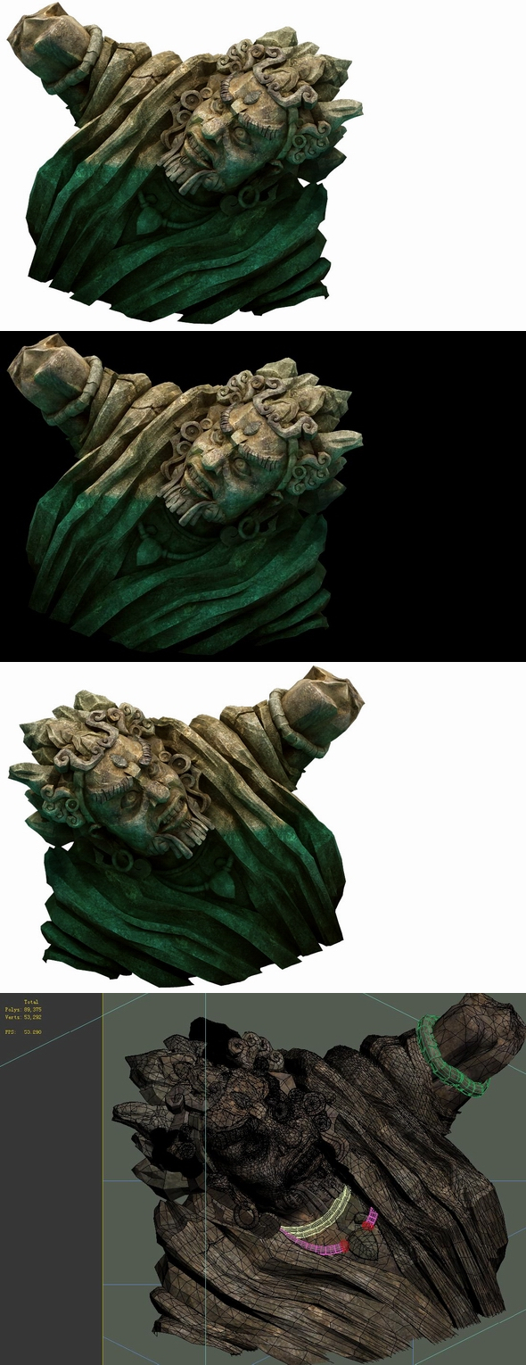 Game Model - Kashayana Buddha Forest Water Sculpture 01 - 3DOcean Item for Sale