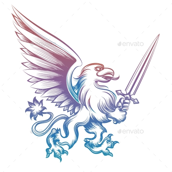 Colorful Heraldy Griffon with Sword - Miscellaneous Vectors