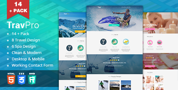 TravelPro - Travel/Spa Landing Pages (HTML5) - Travel Retail