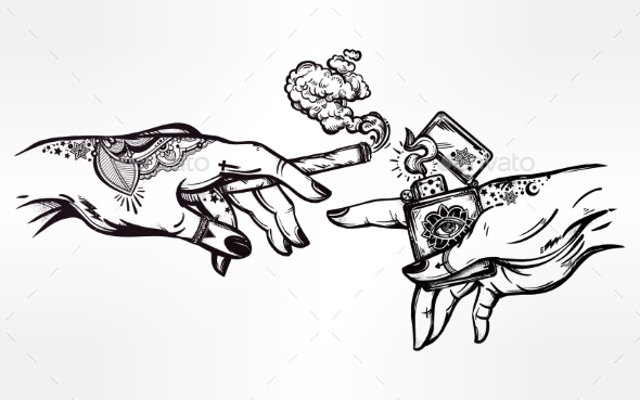 Hands with Cigarette and a Lighter - People Characters