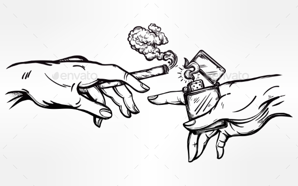 Hands with Weed Joint or Cigarette and a Lighter - People Characters