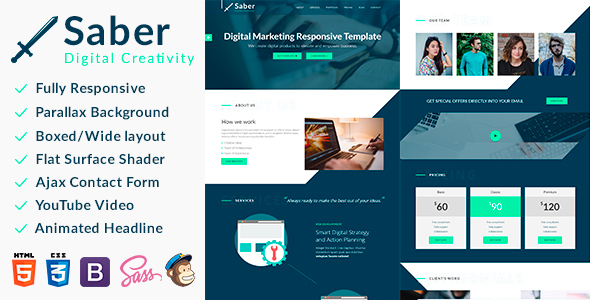 Saber – Responsive Bootstrap Landing Template