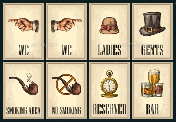 Vintage Signboard Set - Miscellaneous Vectors