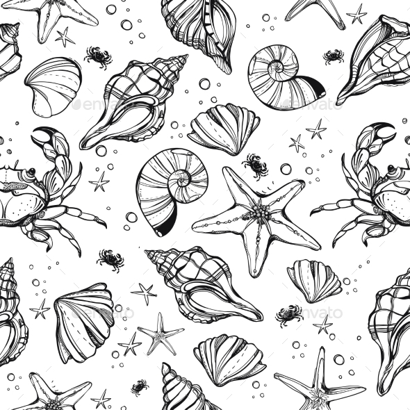 Sea Shell Linear Marine Life Seamless Pattern - Backgrounds Decorative