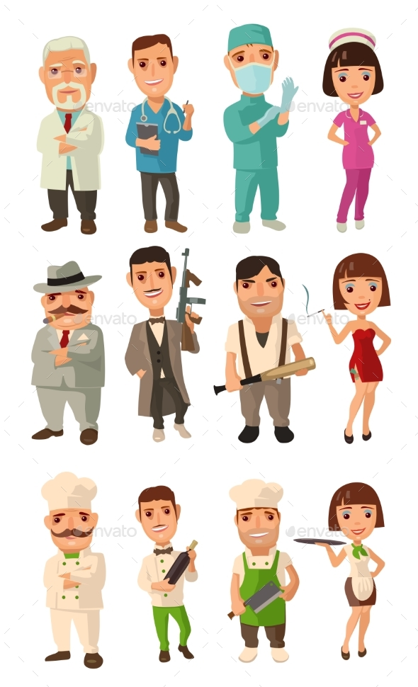 Character Set of Cook, Mafia, Doctor and Waiter - People Characters