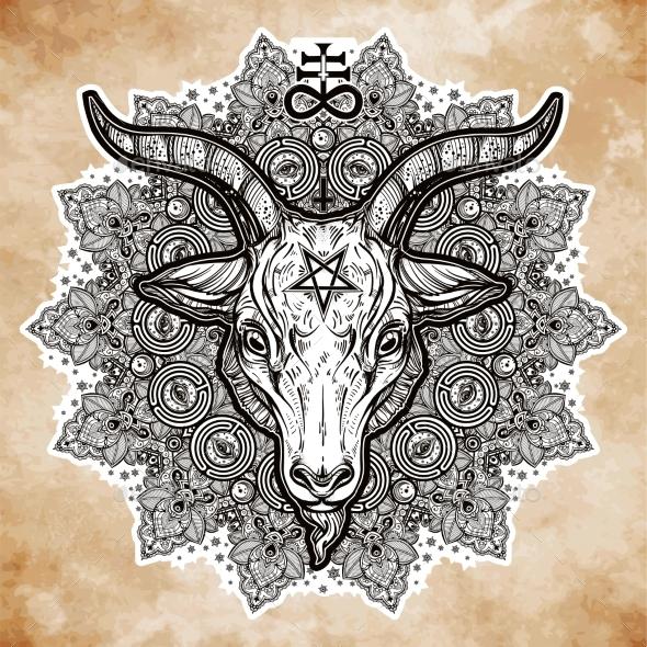 Satanic Eye in Ornate Mandala with Demon Baphomet - Religion Conceptual
