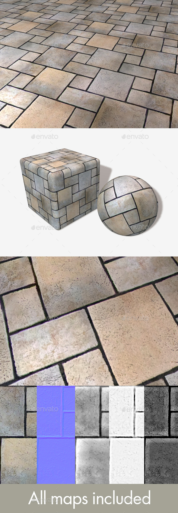 Restaurant Floor Tile Seamless Texture - 3DOcean Item for Sale