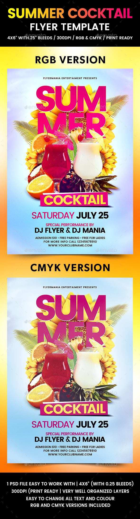 Summer Cocktail Flyer Template - Flyers Print Templates