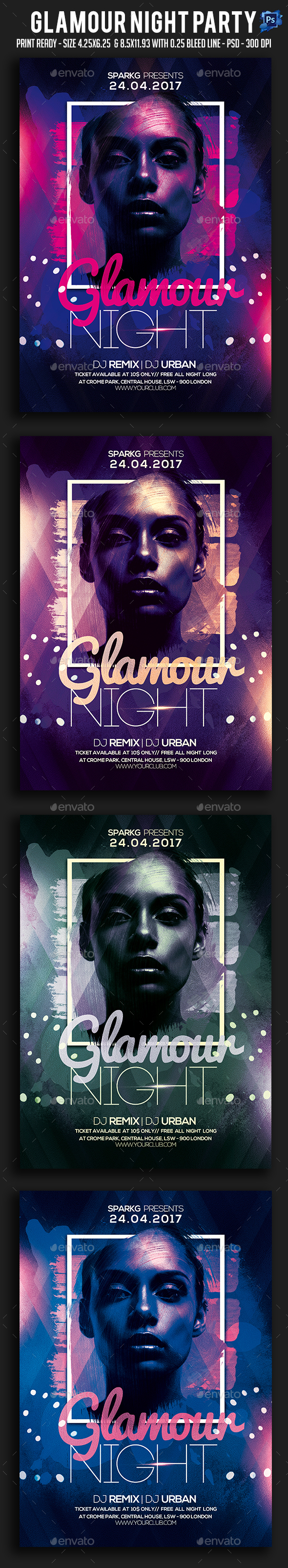 Glamour Night Party Flyer - Clubs & Parties Events