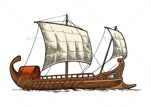 Trireme Floating on the Sea Waves - Man-made Objects Objects