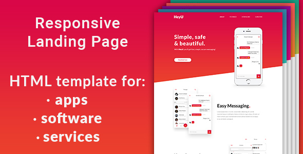 HeyU – responsive HTML5 landing page template for app, software, service or product