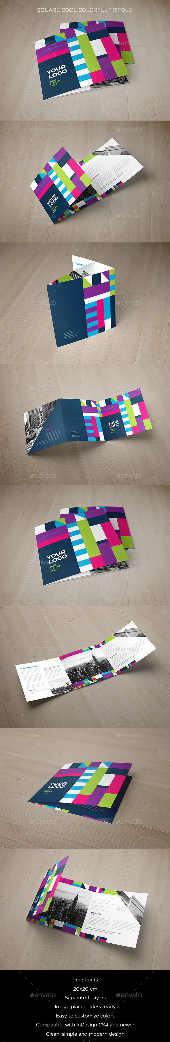Square Cool Colorful Trifold - Brochures Print Templates
