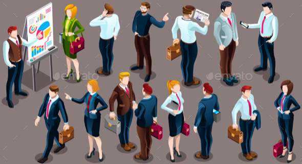 Isometric People Staff Deal Icon 3D Set Vector Illustration - People Characters