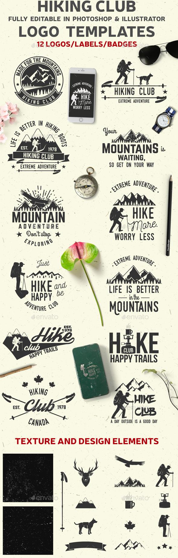 Hiking Club - Badges & Stickers Web Elements