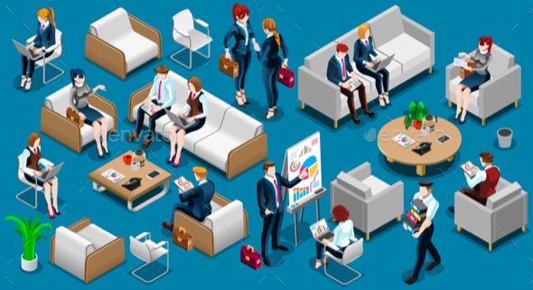 Isometric People Team Work 3D Icon Set Vector Illustration - People Characters