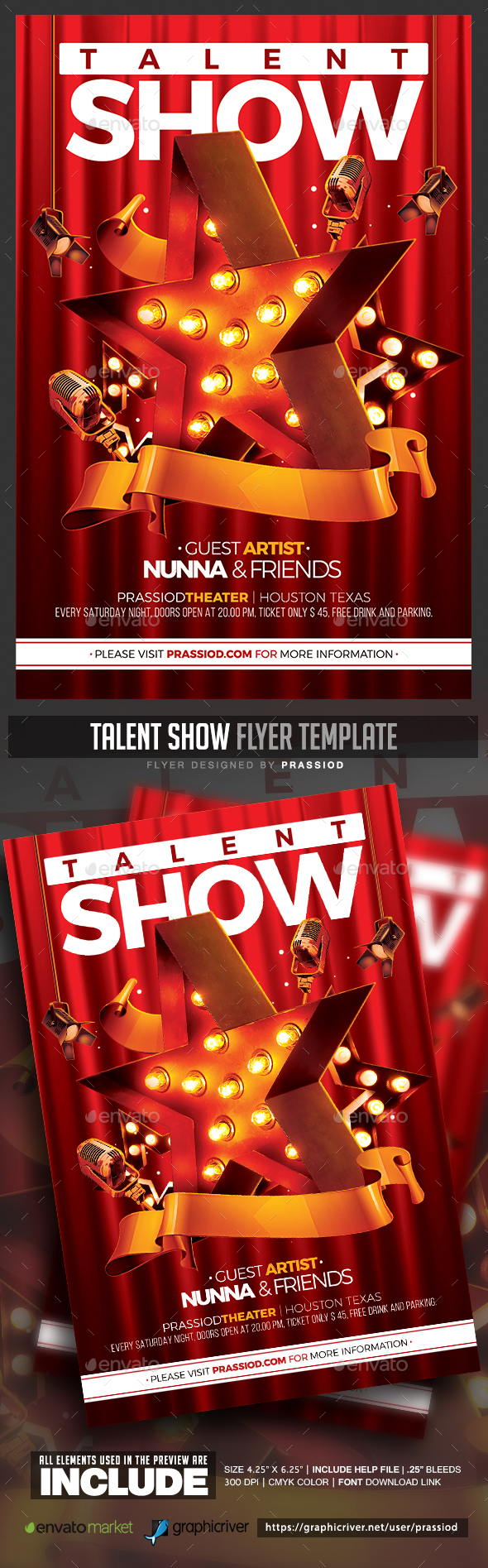 Talent Show Flyer Template by prassiod | GraphicRiver