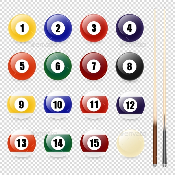 Vector Realistic Pool - Billiard Balls and Cue - Sports/Activity Conceptual