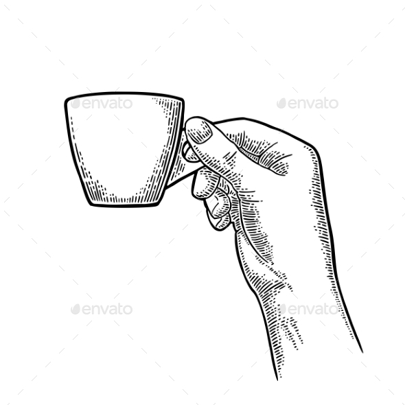 Hand Holding a Cup of Coffee - Food Objects