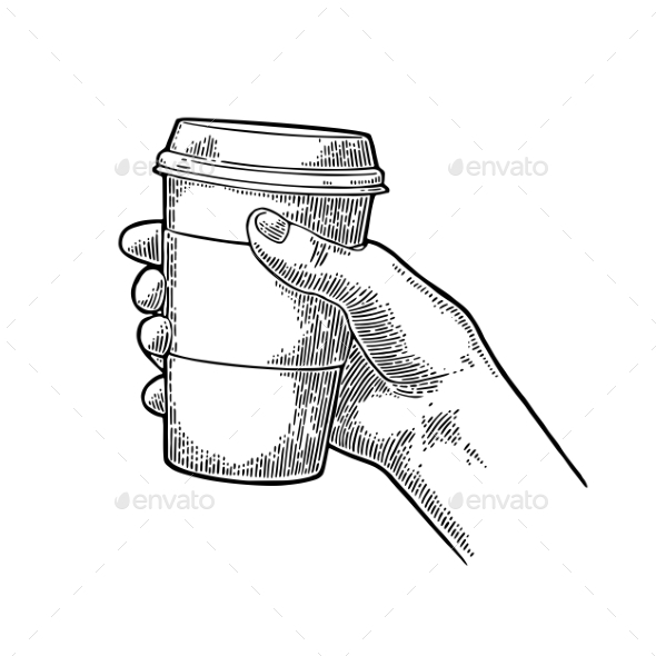Hand Holding a Disposable Cup of Coffee - Food Objects