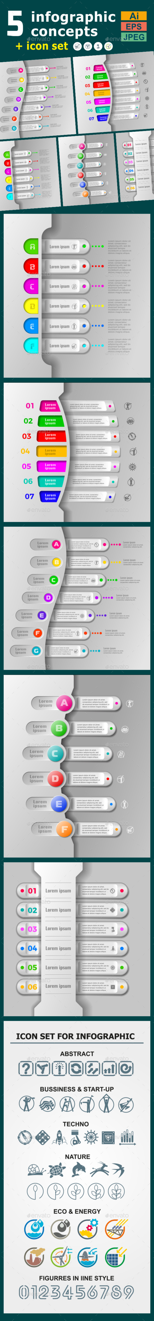 Infographic Templates in Paper Style. v.08 - Infographics