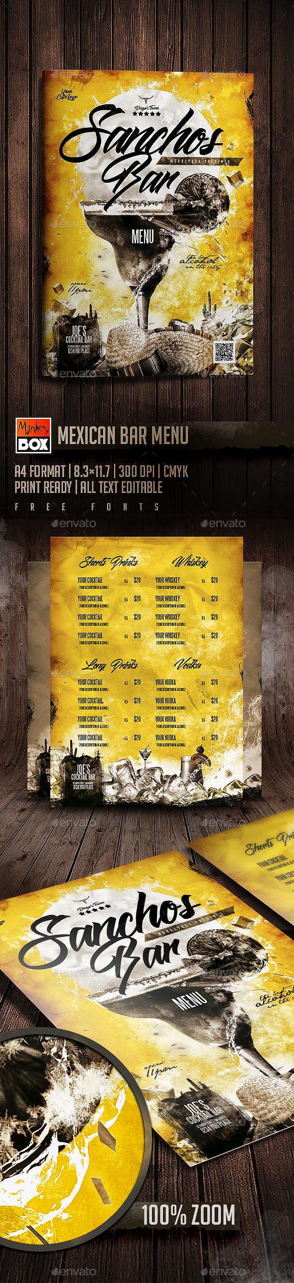 Mexican Bar Menu - Flyers Print Templates