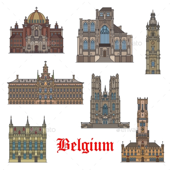Belgian Travel Landmarks Icon for Tourism Design - Buildings Objects