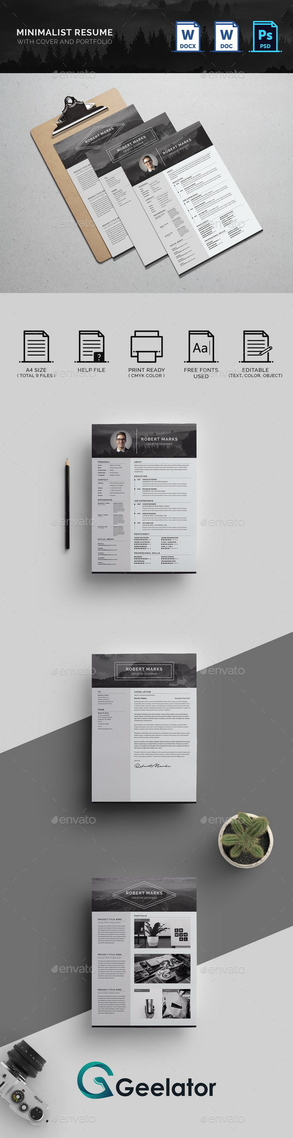 Sample Bookkeeper Resume Minimalist Resume By Geelator  Graphicriver Examples Of It Resumes Word with How To Write A Summary For Resume Pdf Minimalist Resume  Resumes Stationery Best Resume Examples Pdf
