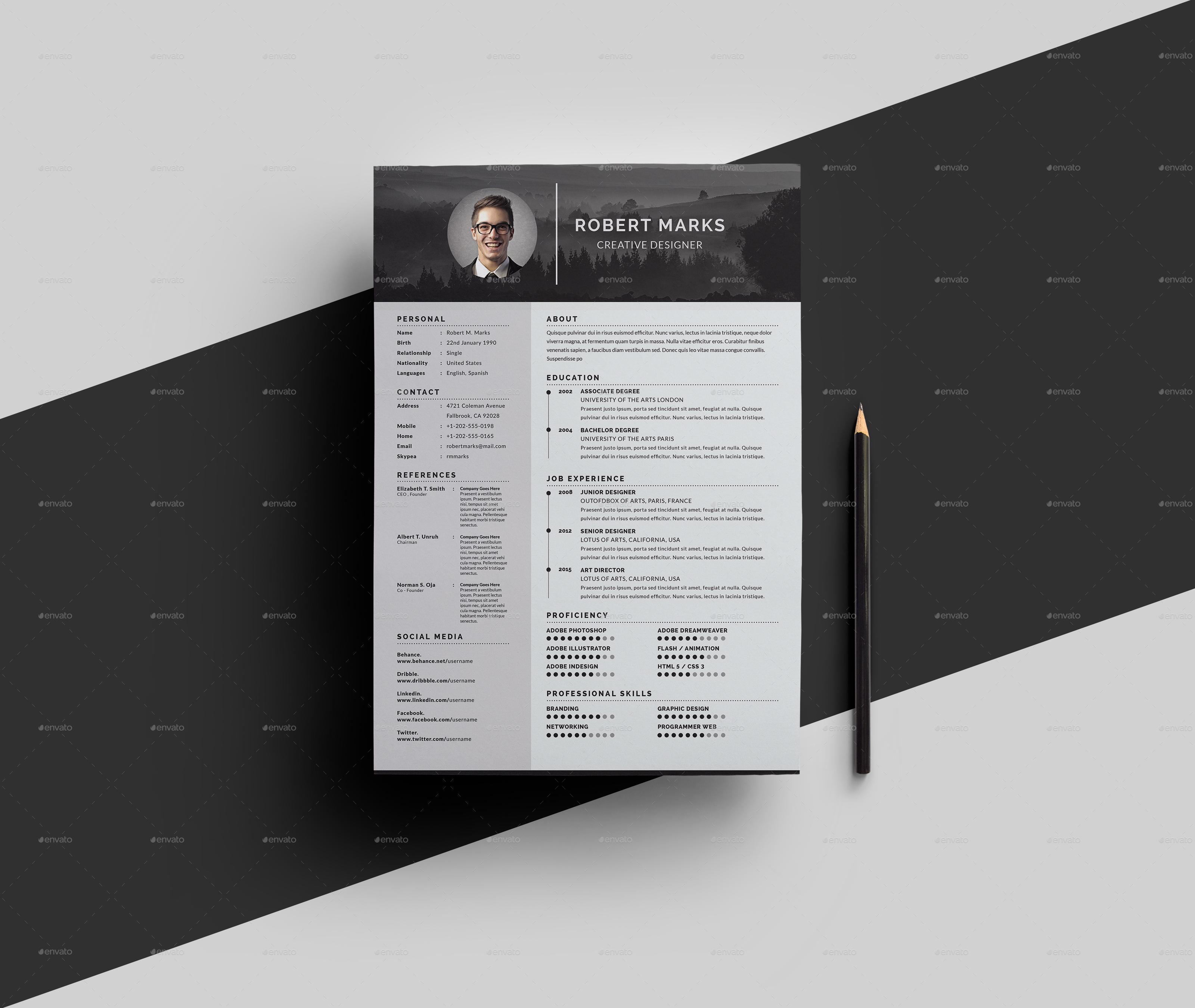 minimalist resume by geelator graphicriver
