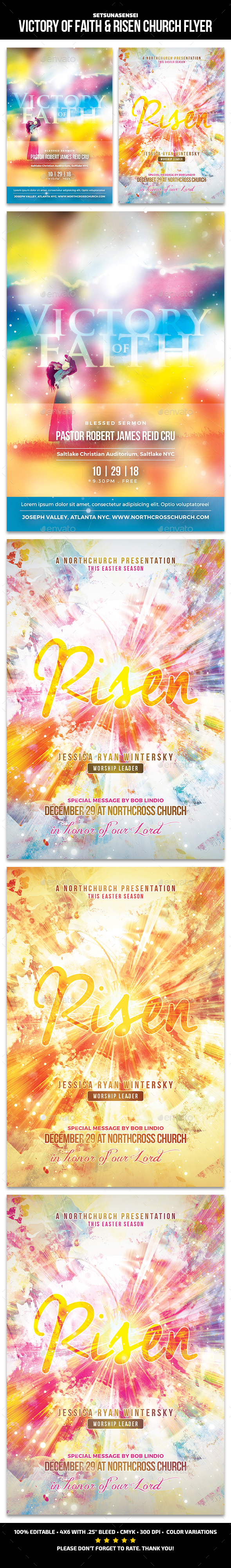 Victory of Faith & Risen Church - Church Flyers