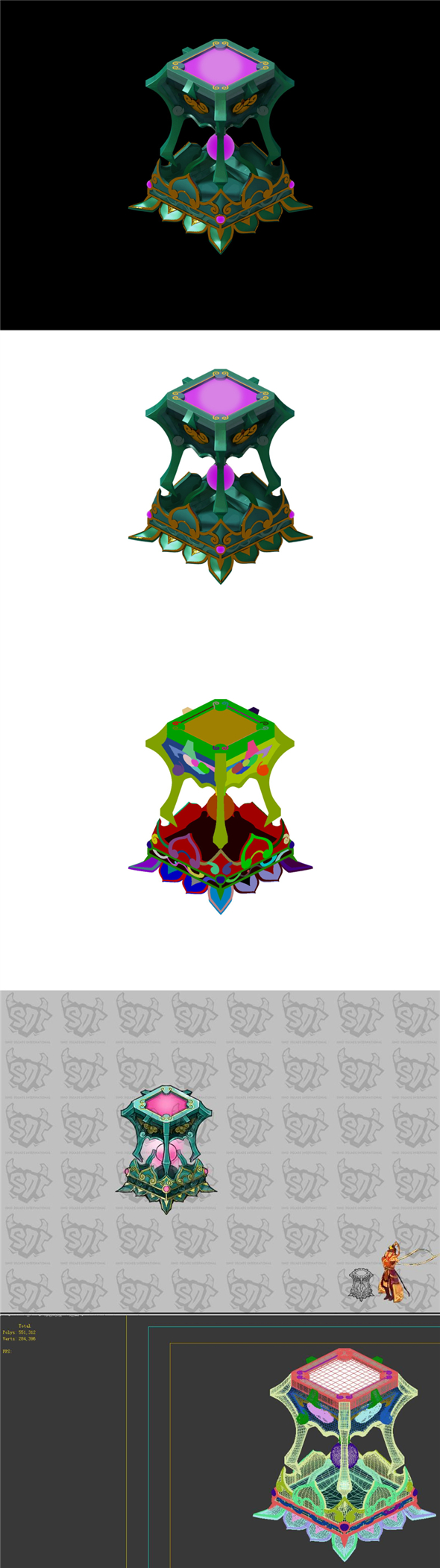Game Model - Family Objects - White Jade Stool Set - 3DOcean Item for Sale