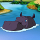 Big Violet Hippopotamus Emerges from the Water - VideoHive Item for Sale
