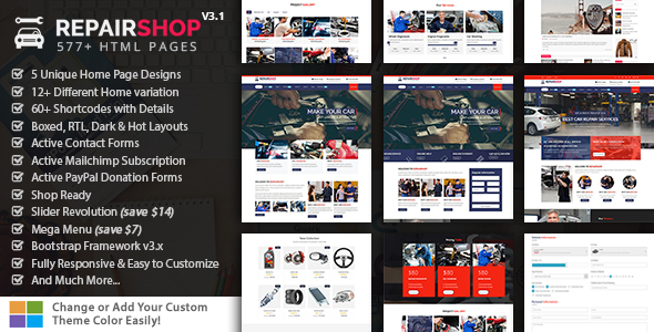 RepairShop - Car Repair & Car Wash Responsive HTML5 Template - Business Corporate
