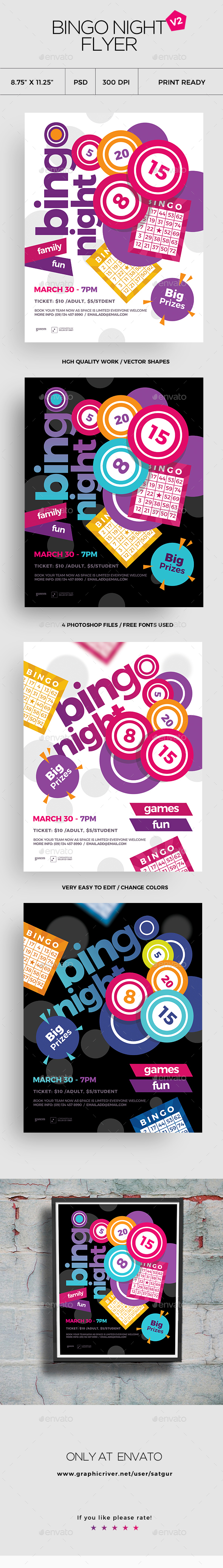 Bingo Flyer Template V2 - Clubs & Parties Events