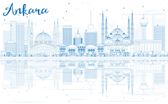 Outline Ankara Skyline with Blue Buildings and Reflections - Buildings Objects